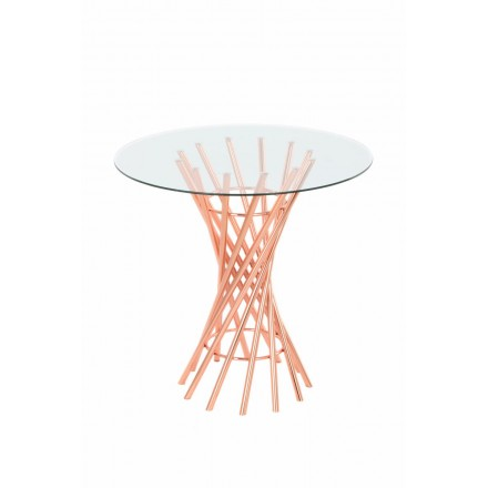 End table, end table ISIDORE in metal and glass (Rose)