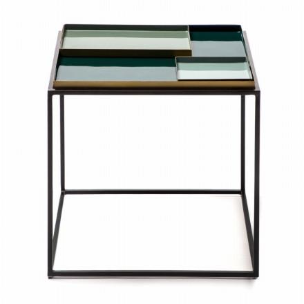 Table d'appoint, bout de canapé SALVADOR en métal (Vert)