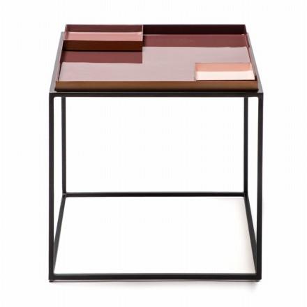 Table d'appoint, bout de canapé SALVADOR en métal (Violet, Rose)