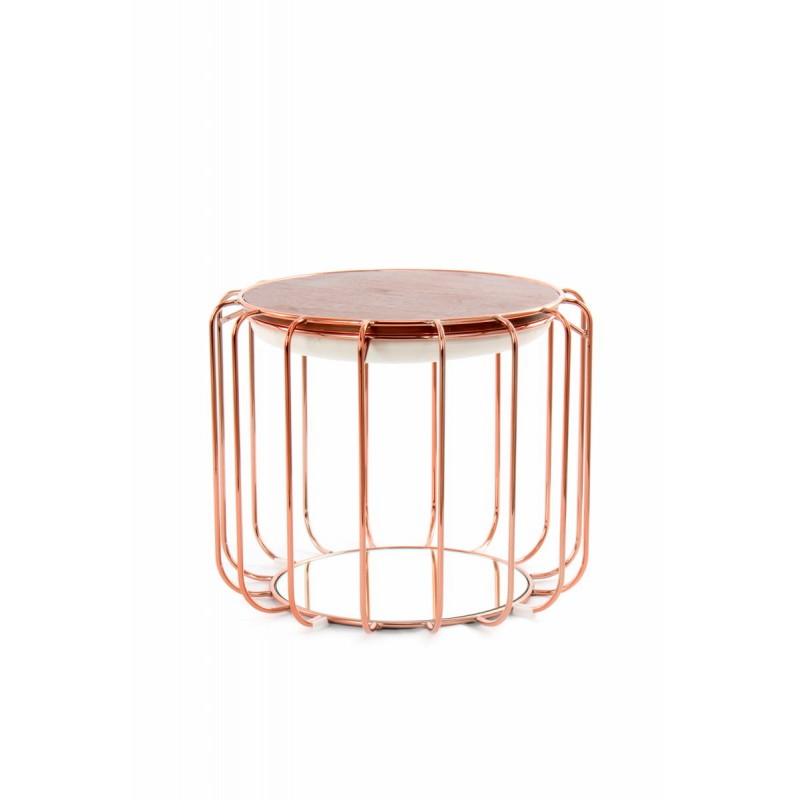 Pouf, table d'appoint FAUVE en velours (Beige, Rosé) - image 42505