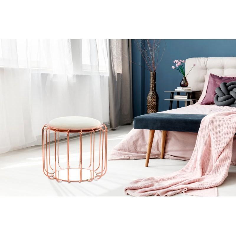 Pouf, table d'appoint FAUVE en velours (Beige, Rosé) - image 42508