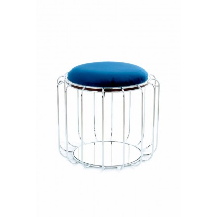 Pouf, table TAWNY velvet (blue, silver)