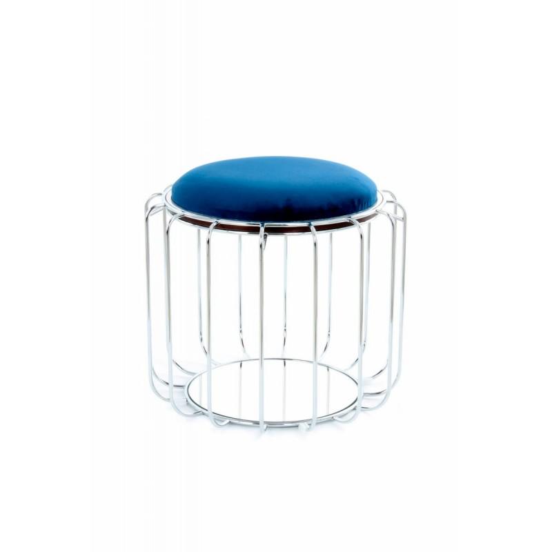 Pouf, table d'appoint FAUVE en velours (Bleu, Argent) - image 42514