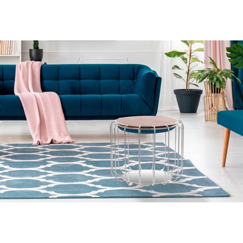 Pouf, table d'appoint FAUVE en velours (Bleu, Argent) - image 42515