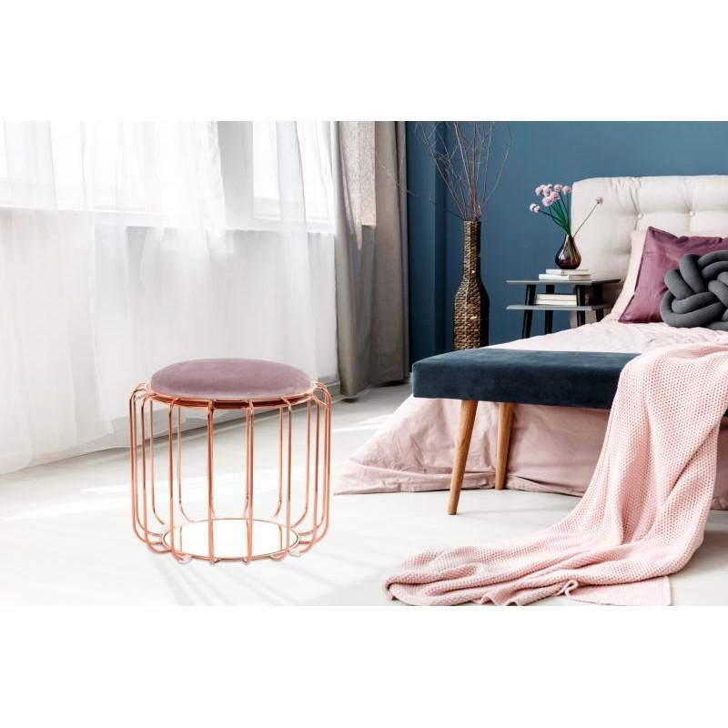 Pouf, table d'appoint FAUVE en velours (Marron foncé, rose) - image 42532