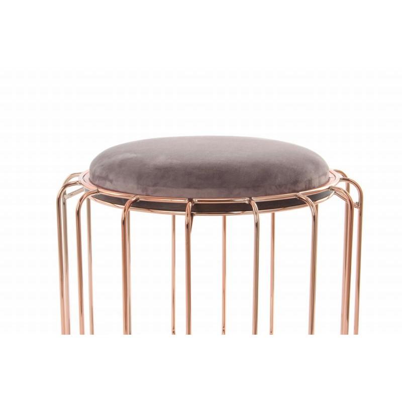 Pouf, table d'appoint FAUVE en velours (Marron foncé, rose) - image 42534