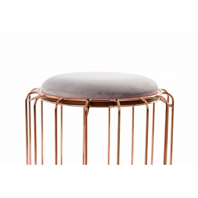 Pouf, table d'appoint FAUVE en velours (Marron, rose) - image 42558