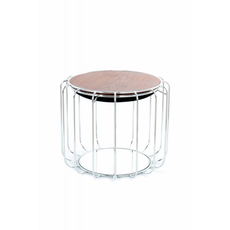 Pouf, table d'appoint FAUVE en velours (Noir, Argent) - image 42577
