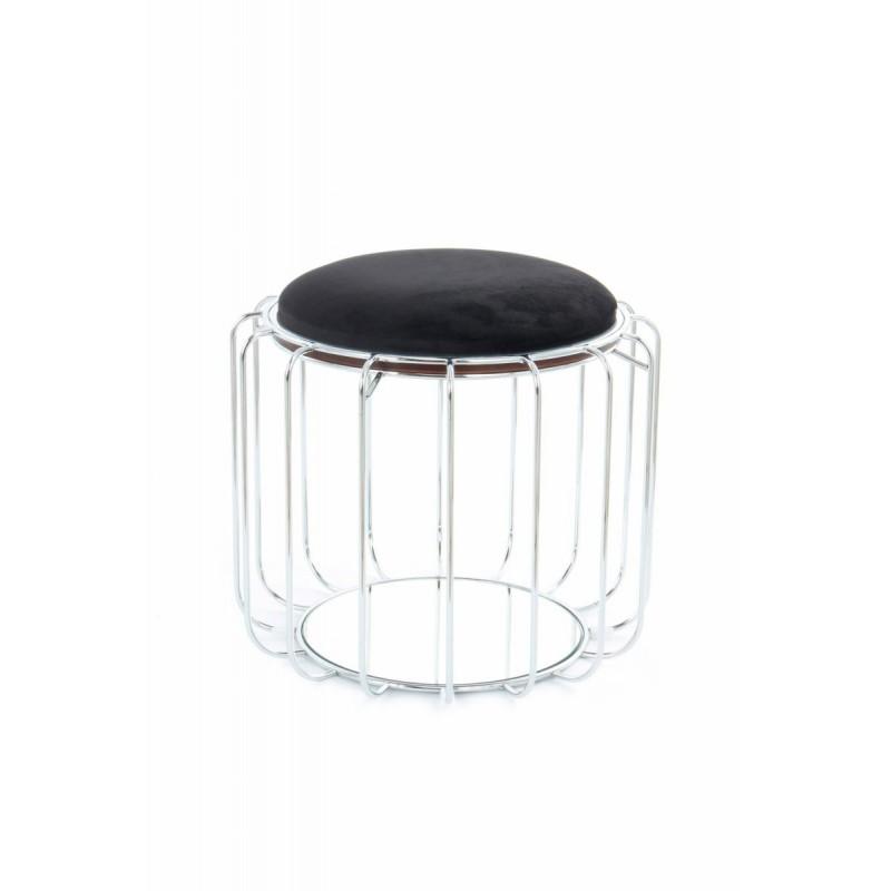 Pouf, table d'appoint FAUVE en velours (Noir, Argent) - image 42578