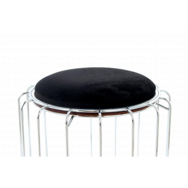 Pouf, table d'appoint FAUVE en velours (Noir, Argent) - image 42582