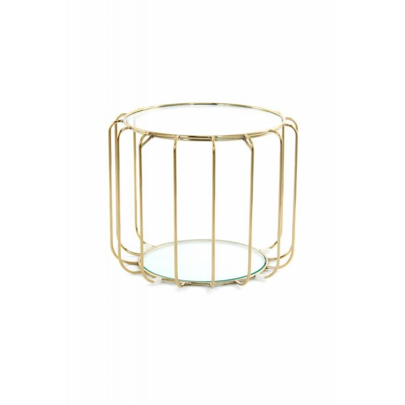 Table d'appoint, bout de canapé APOLLINE en métal, miroir et verre (Doré) - image 42636