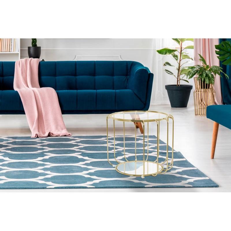 Table d'appoint, bout de canapé APOLLINE en métal, miroir et verre (Doré) - image 42640