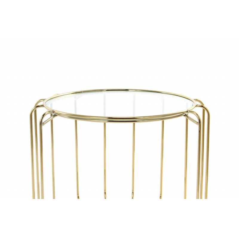 Table d'appoint, bout de canapé APOLLINE en métal, miroir et verre (Doré) - image 42641