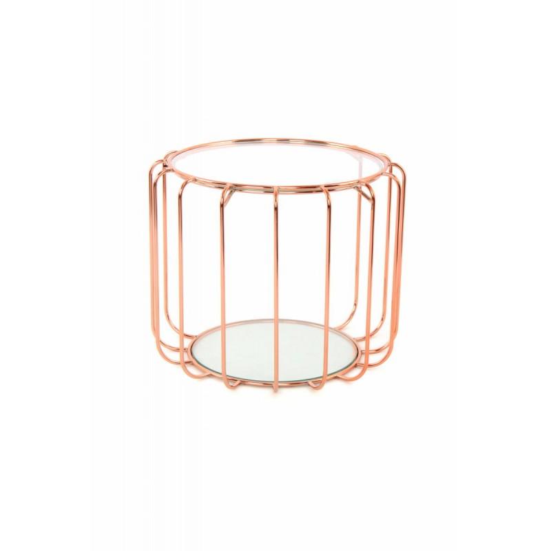 Table d'appoint, bout de canapé APOLLINE en métal, miroir et verre (Rosé) - image 42643