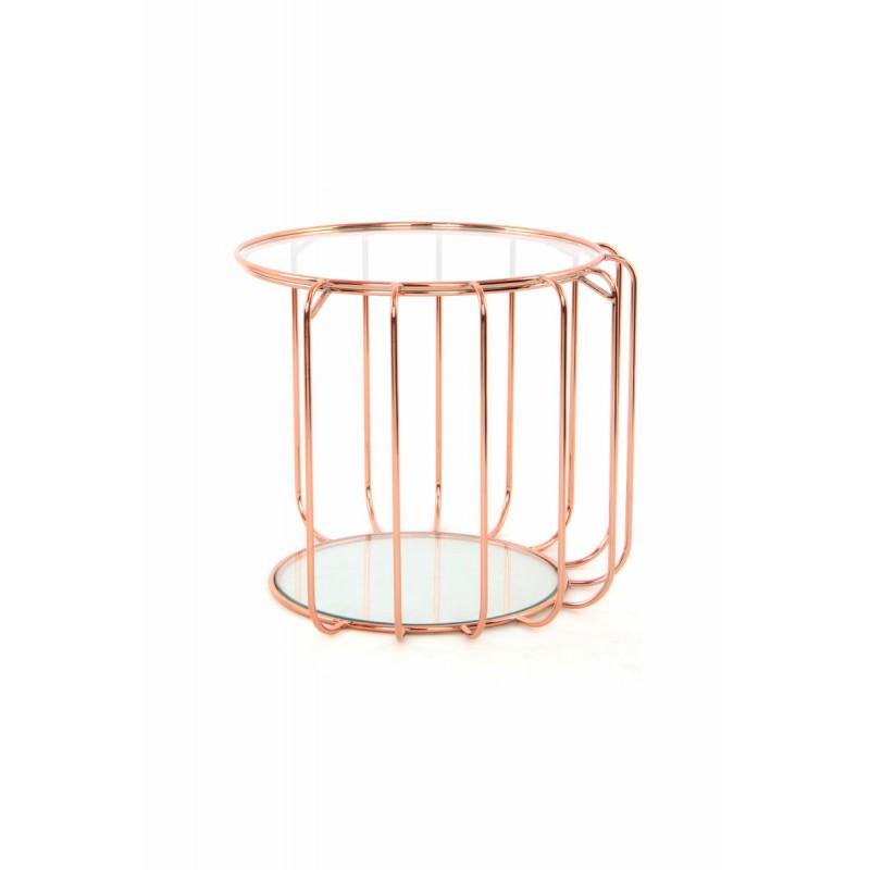 Table d'appoint, bout de canapé APOLLINE en métal, miroir et verre (Rosé) - image 42644