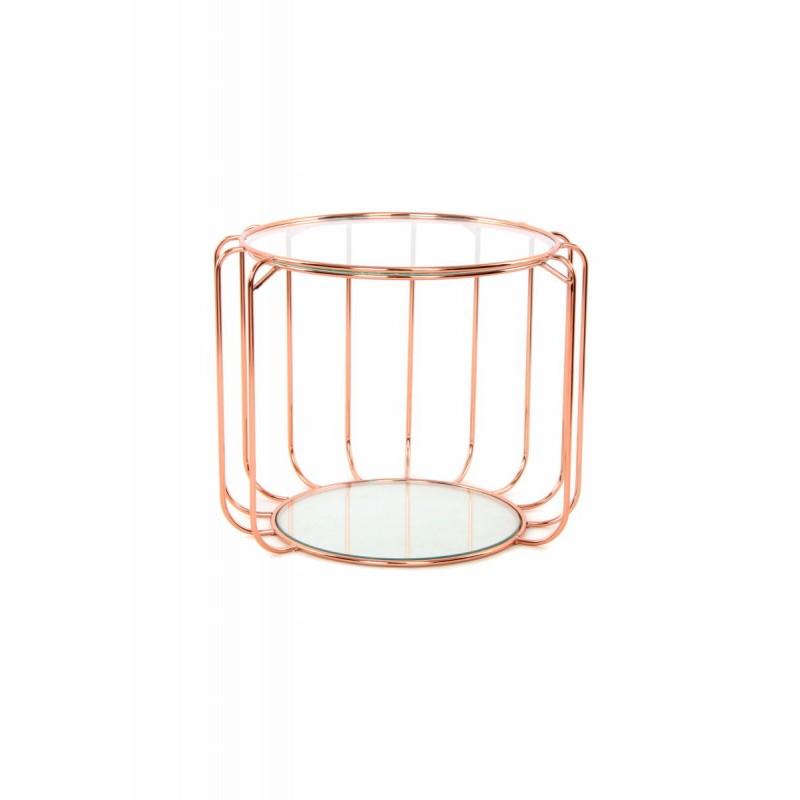 Table d'appoint, bout de canapé APOLLINE en métal, miroir et verre (Rosé) - image 42645