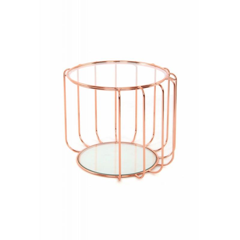 Table d'appoint, bout de canapé APOLLINE en métal, miroir et verre (Rosé) - image 42646