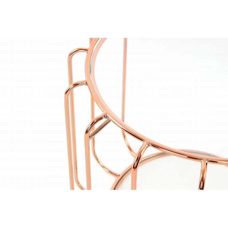 Table d'appoint, bout de canapé APOLLINE en métal, miroir et verre (Rosé) - image 42649