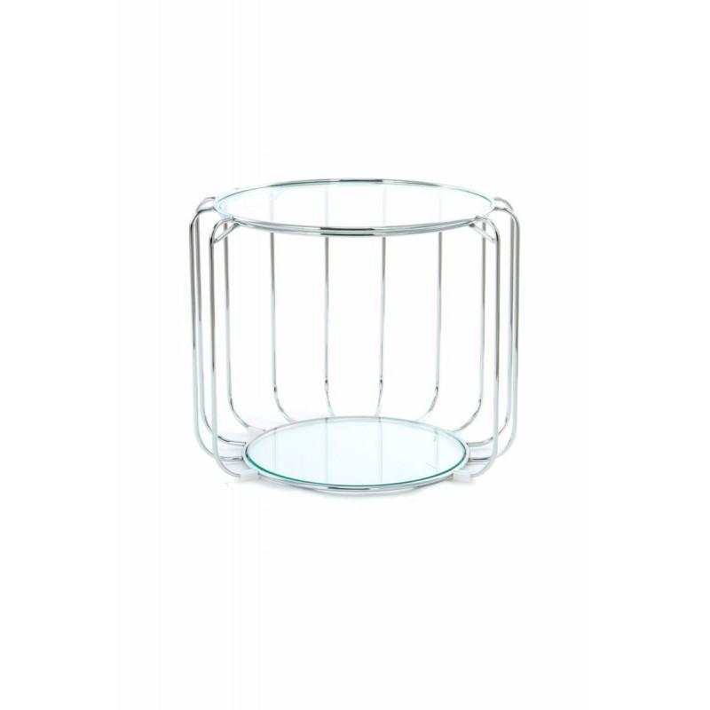 Table d'appoint, bout de canapé APOLLINE en métal, miroir et verre (Argent) - image 42652