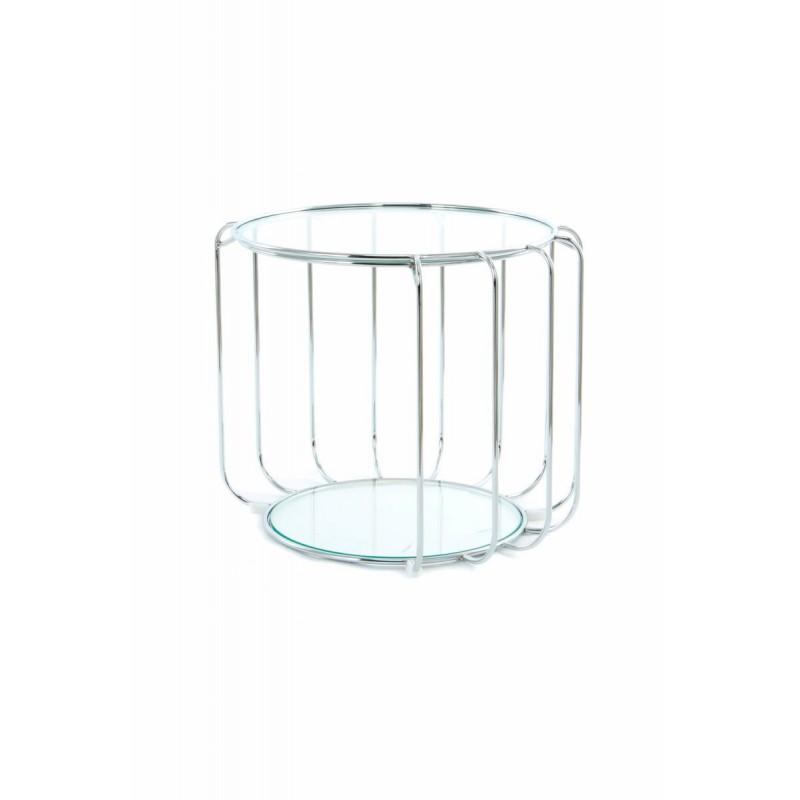 Table d'appoint, bout de canapé APOLLINE en métal, miroir et verre (Argent) - image 42653