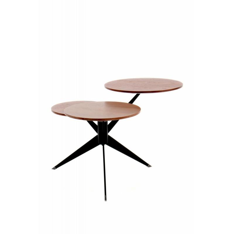 Table d'appoint 3 plateaux, bout de canapé MARION en métal et bois MDF (Marron, Noir) - image 42672