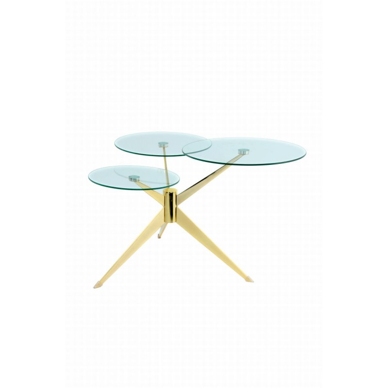 Tabelle 3 Tabletts, Ende des MARION Sofa aus Metall und glas (Transparent, Gold)