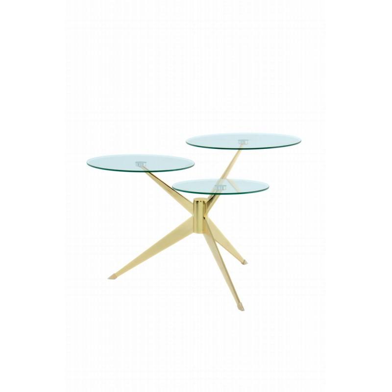 Tabelle 3 Tabletts, Ende des MARION Sofa aus Metall und glas (Transparent, Gold) - image 42678