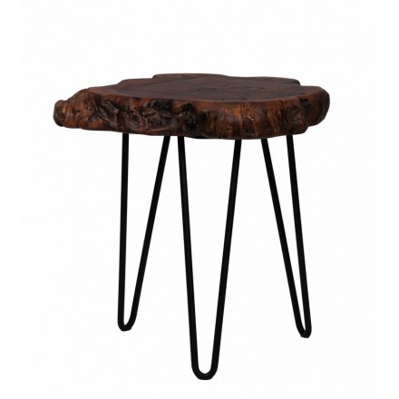 Table d'appoint, bout de canapé VESNA en métal et bois (Naturel)