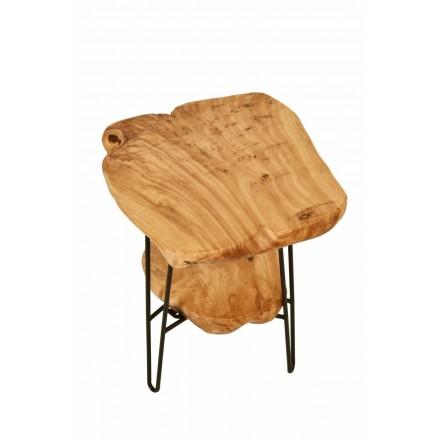 Lateral mesa doble bandejas, mesa de metal MYRIAMME y madera de cedro (natural)