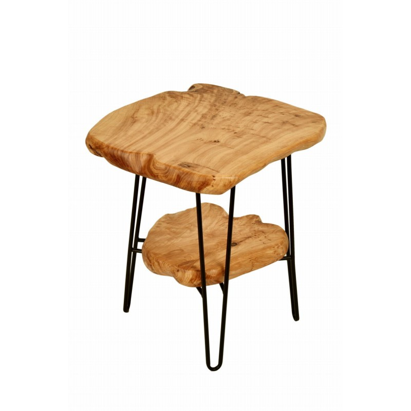 Side table double trays, side table MYRIAMME metal and cedar wood (natural) - image 42728