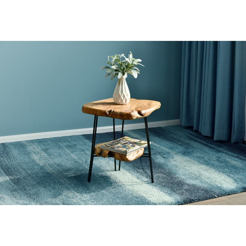 Side table double trays, side table MYRIAMME metal and cedar wood (natural) - image 42731