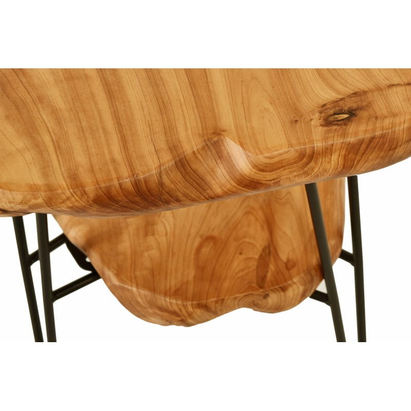 Side table double trays, side table MYRIAMME metal and cedar wood (natural) - image 42734