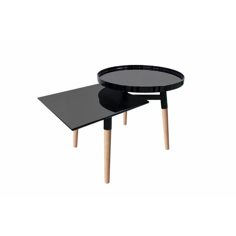 Table d'appoint 2 plateaux, bout de canapé EMILIE en métal et bois (Noir)