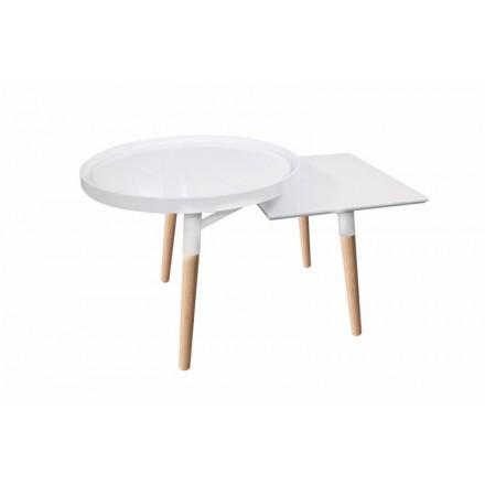 Vassoi di tabella 2 di lato, lato tavolino EMILIE in metallo e legno (bianco)