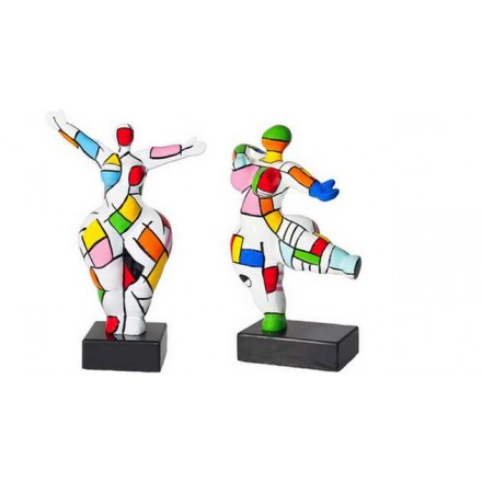 Conjunto de 2 estatuas esculturas decorativas diseño COUPLE en resina H34 (multicolor)