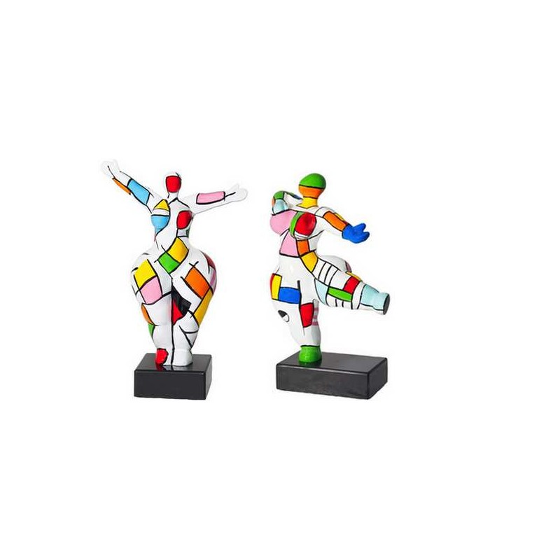 Set of 2 statues decorative sculptures design COUPLE in resin H34 (multicolored)