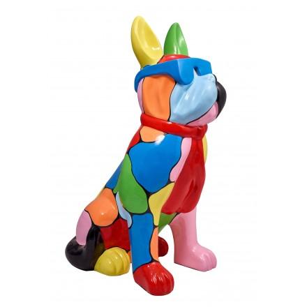 Statue sculpture décorative design CHIEN A LUNETTES DEBOUT en résine H102 (multicolore)