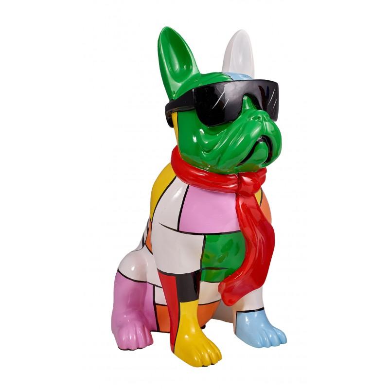 Resin Statue Skulptur Deko Design Hund stand H36 (multicolor)