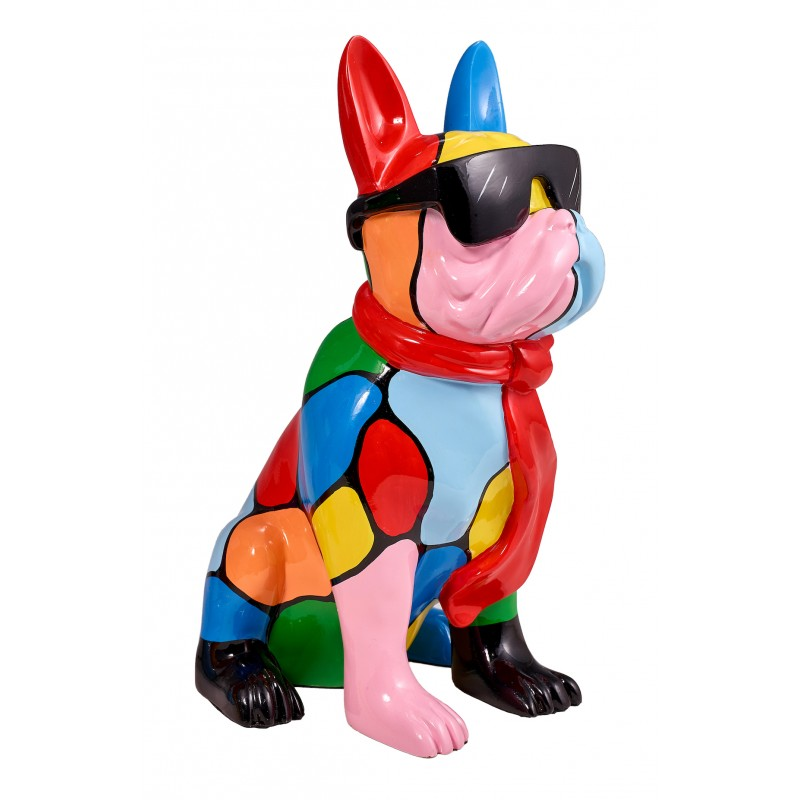 Resin statue sculpture decorative design dog A SUNGLASSES stand H36 (multicolor)