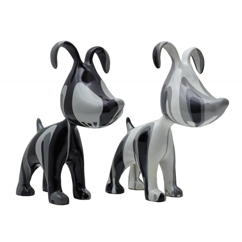 Set of 2 COUPLE of dogs design sculptures in resin H38 (gray) - image 42887