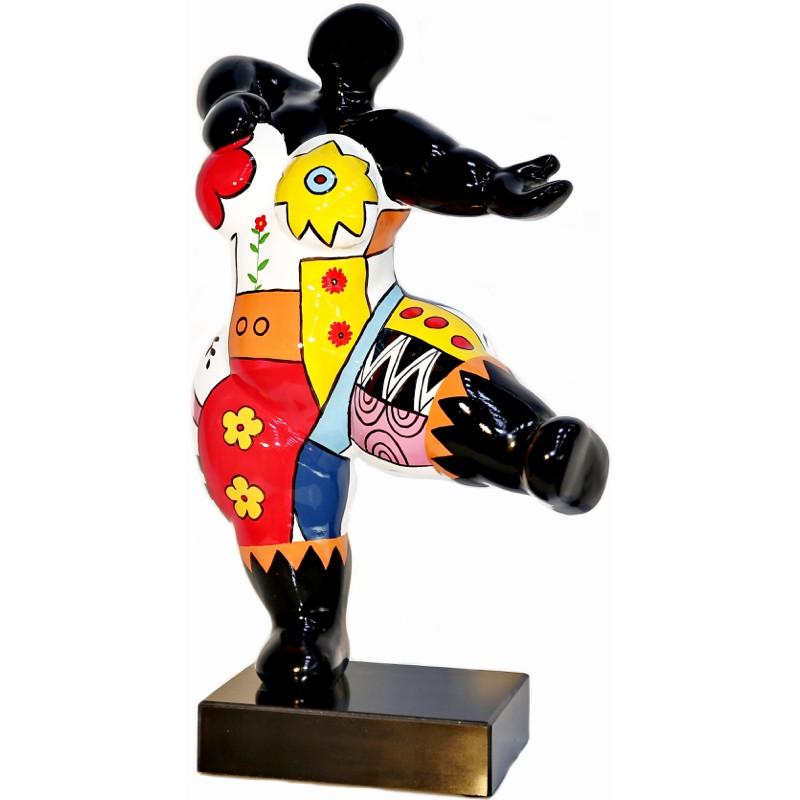 Statue Frau EXPRESSIVE design dekorative Skulptur im Harz H54 cm (multicolor)