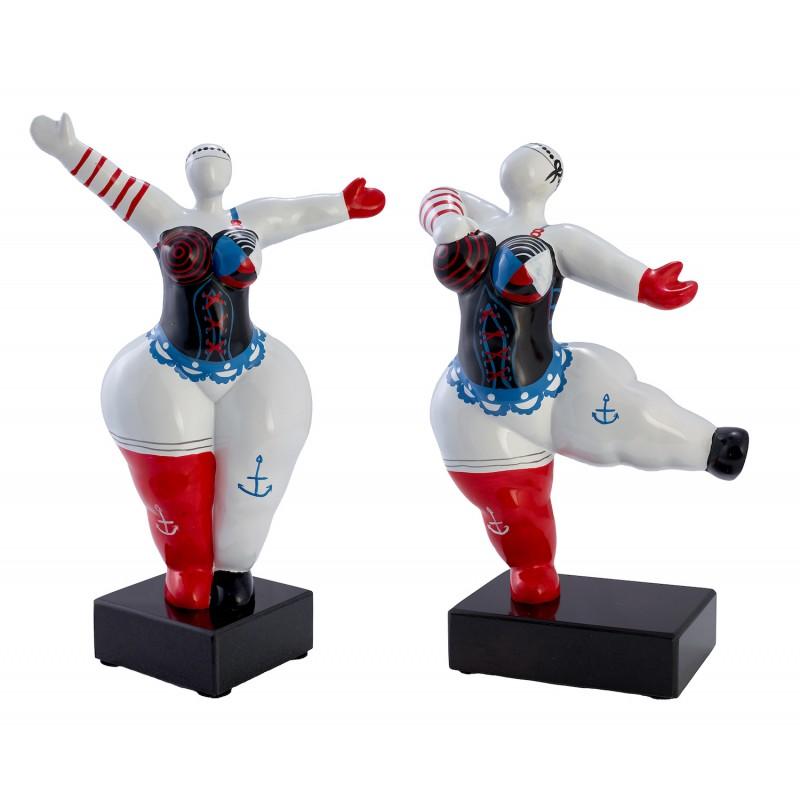 Set de 2 statues sculptures décoratives design FEMMES PECHEUR en résine H34cm (Multicolore)