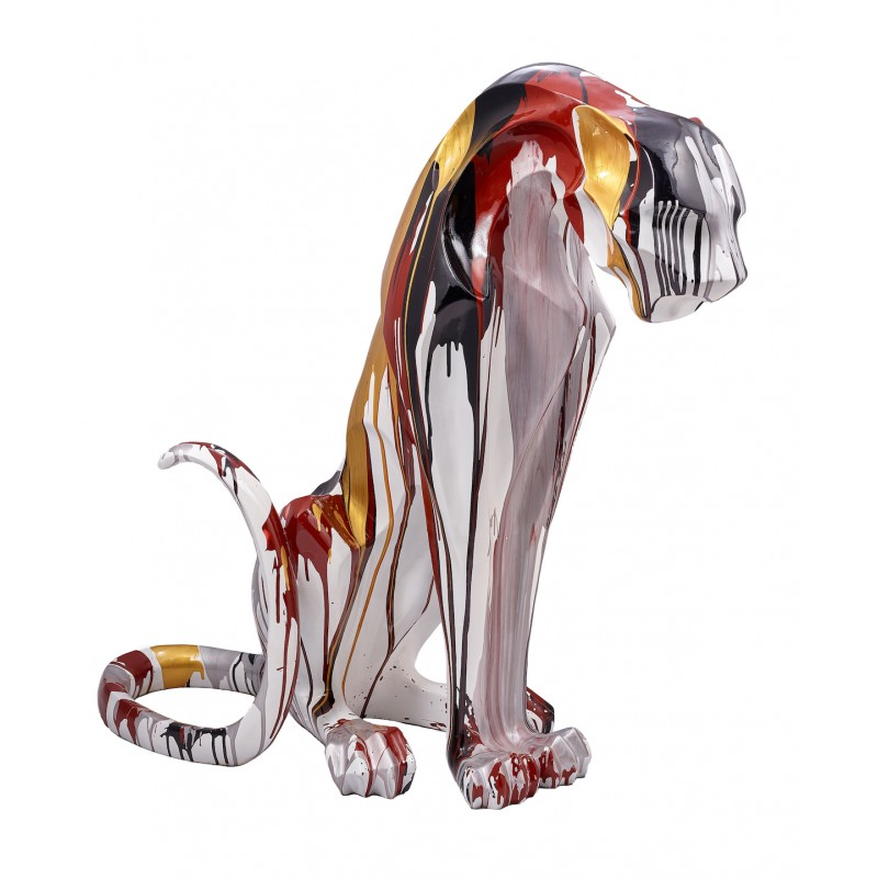 Statuette design decorative sculpture Panther Savannah resin H100 (multicolor)