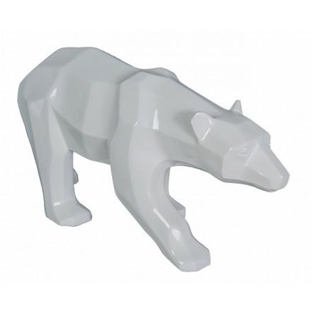 Statue sculpture décorative design OURS en résine H30 cm (blanc)