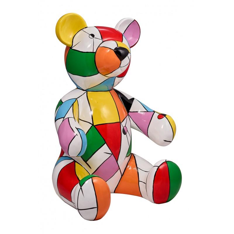 Statue sculpture decorative design Teddy bear resin H100 cm (multicolor)