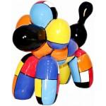 Statue sculpture décorative design CHIEN BALLON en résine H32 cm (multicolore)