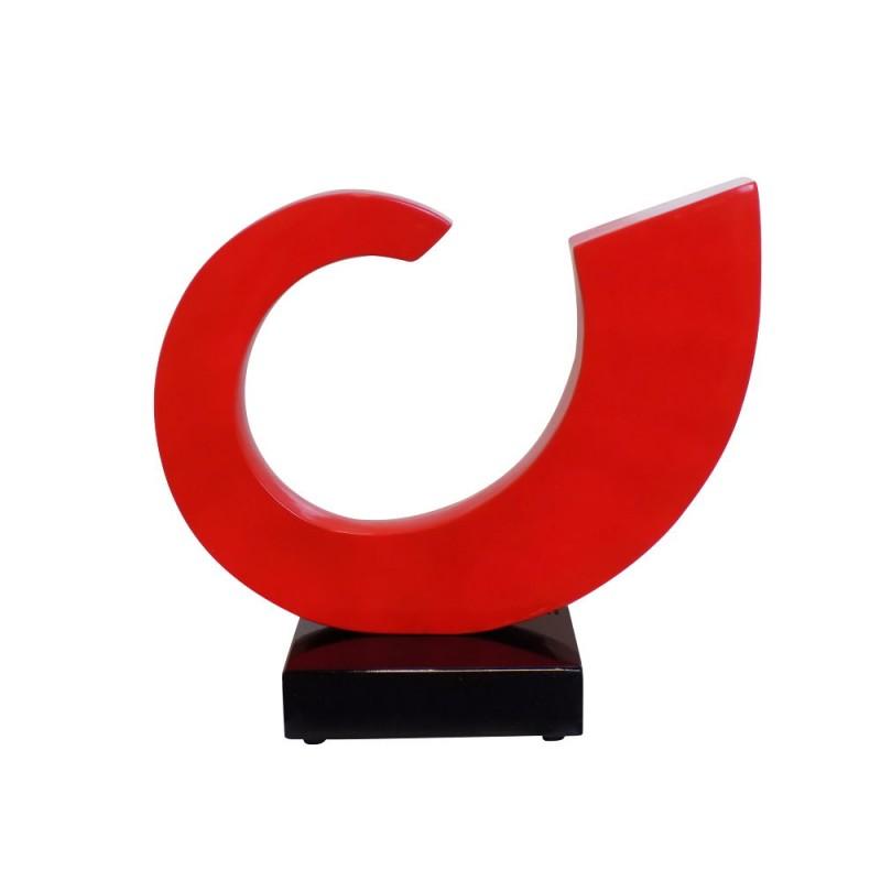 Statue decorative sculpture design pregnant Bluetooth SUN in resin (Red)