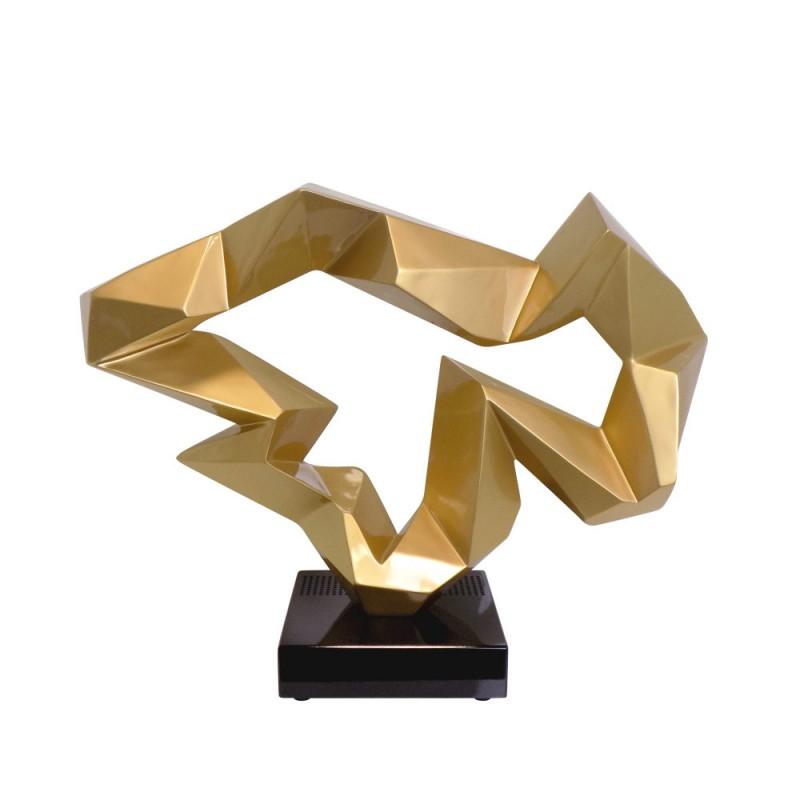 Statue sculpture décorative design enceinte Bluetooth ICE FLOW en résine (Doré) - image 43022