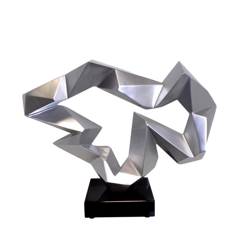 Statue sculpture décorative design enceinte Bluetooth ICE FLOW en résine (Argent)
