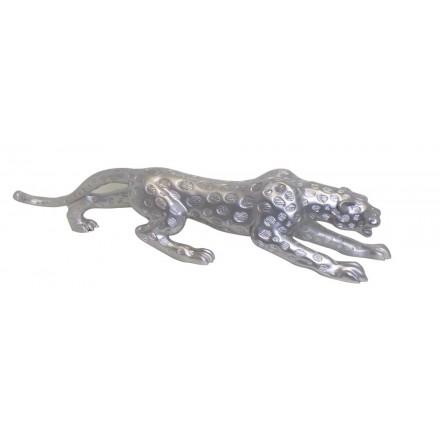 Statua disegno scultura decorativa incinta Bluetooth LEOPARD XL resina (argento)